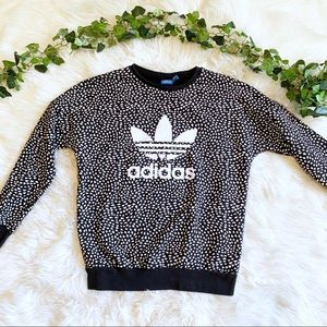 Adidas Black And White Heart Print Logo Pullover